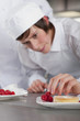 Trainee chef decorating gourmet dessert in commercial kitchen