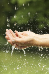 Close-up of young woman washing hands outdoors