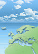 map, Western Europe, green, blue, clouds, sky, relief map
