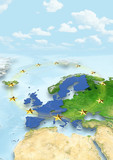 map, Western Europe, physical, political, clouds, sky, European Union, EU Stars