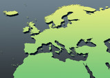 map, Western Europe, green, yellow, grey