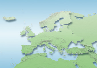 map, Western Europe, map, political, physical, green, mid blue