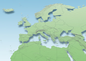 map, Western Europe, physical, green, mid blue, political