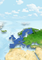 map, Western Europe, physical, physical, political, clouds, sky, European Union