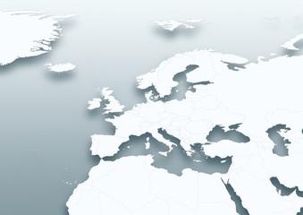 map, Western Europe, white, grey, political