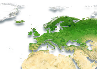 map, Western Europe, white, relief map