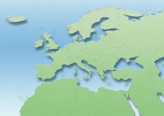 map, Western Europe, green, blue, political