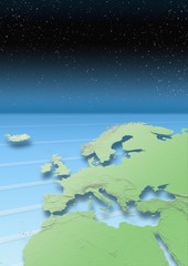 map, Western Europe, green, blue, stars, night sky, relief map