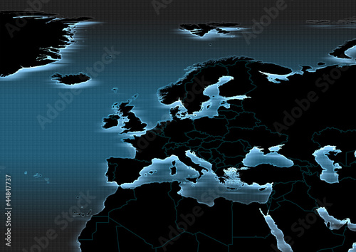 map, Western Europe, night, dark, blue aura, blue outline, black