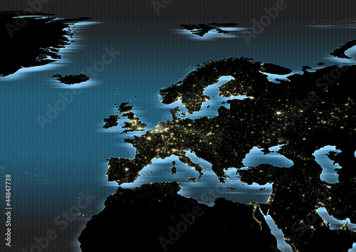 map, Western Europe, city lights, night, dark, blue aura, black