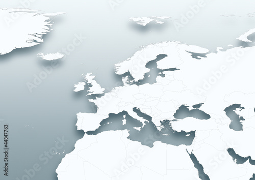 map, Western Europe, white, grey, political