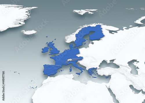 map, Western Europe, white, grey, physical, European Union
