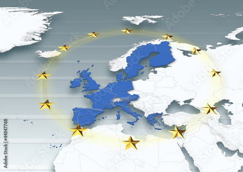 map, Western Europe, white, grey, physical, European Union, EU Stars, political