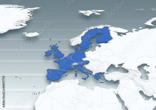 map, Western Europe, white, grey, physical, European Union, political