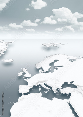 map, Western Europe, white, grey, physical, clouds, grey sky