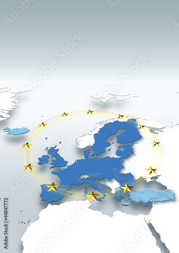 map, Western Europe, white, grey, European Union, physical, EU stars