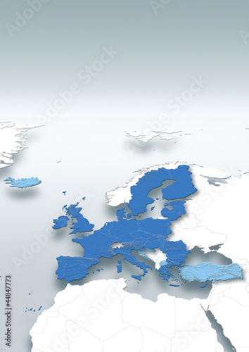 map, Western Europe, white, grey, European Union, relief map, political
