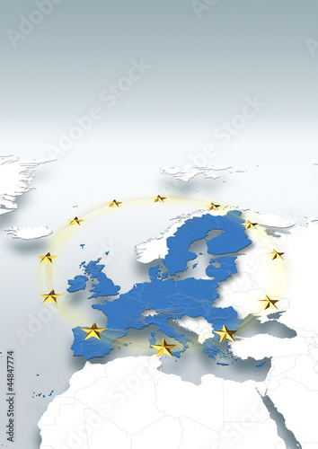 map, Western Europe, white, grey, relief map, European Union, political, Eu stars