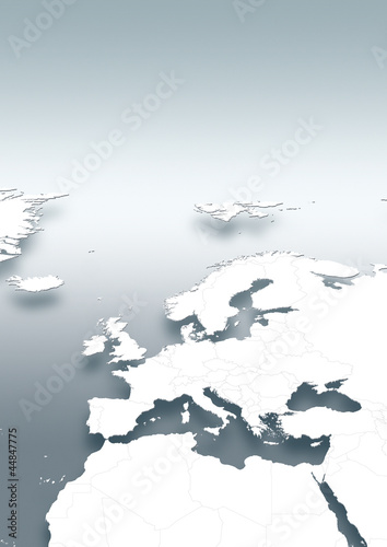 map, Western Europe, white, grey, vertical