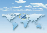 map, world, europe centered, blue, European Union, EU stars, clouds, sky