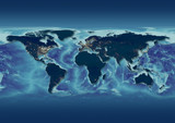 map, world, europe centered, night blue, dark blue city lights