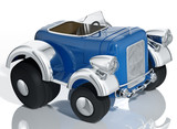 Blue car hot rod isolated, 3d illustration.