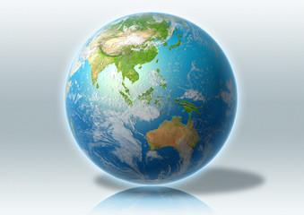 globe, world, Asia, clouds, grey, reflection