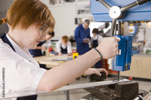 Student using drill in metalwork class