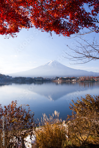 Beautiful Mt Fuji in winter Kawaguchi Japan