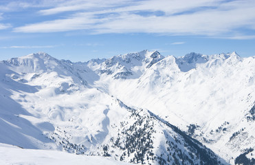 View of snowy mountain tops
