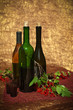 Still life with wine bottles and redcurrant berries