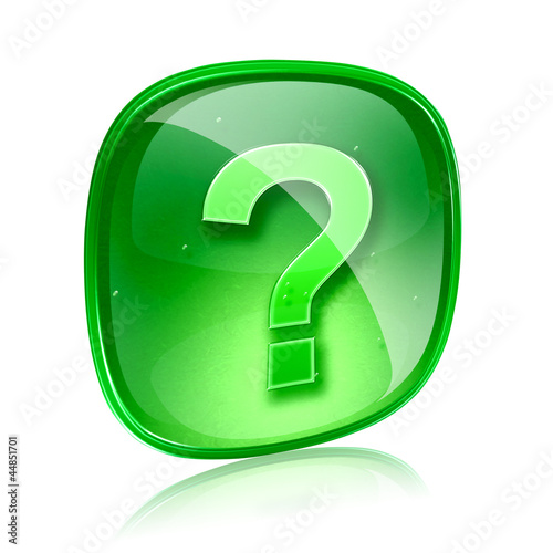 Help icon green glass, isolated on white background