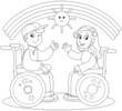 Coloring illustration of smiling boy and girl on wheelchair.