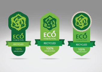 Eco recycle labels - editable vector images