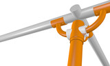 railing handrail close view on white background - 3D poster