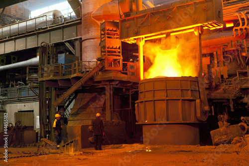 Engineers in forged steel foundry