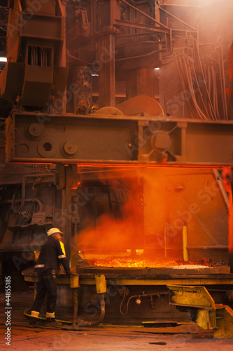 Engineer working in forged steel foundry