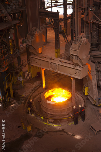 Engineers working in forged steel foundry