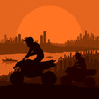 All terrain vehicle motorbike riders in skyscraper city landscap