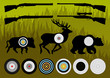 Shooting range wild boar, deer and bear hunting targets silhouet