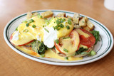 Delicious eggs florentine for breakfast at a restaurant. poster