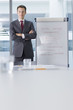 Portrait of confident businessman in suit standing at flipchart in conference room