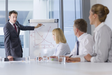 Businessman presenting graph to co-workers in meeting