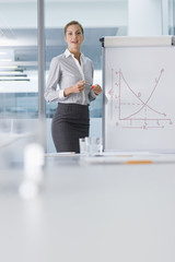 Portrait of smiling businesswoman standing at chart in conference room