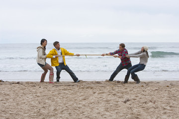 Young couples playing tug-of-war on beach