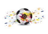 soccer ball and ink splatter background design