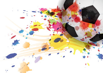 soccer ball ink splash design background