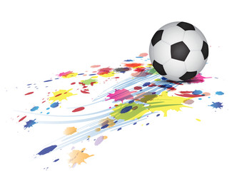 soccer ball and ink splatter background