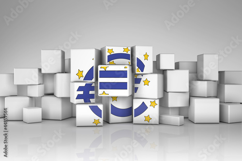 European Central Bank symbol in cubes