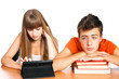 two students learning with books and pad: concept new educationa